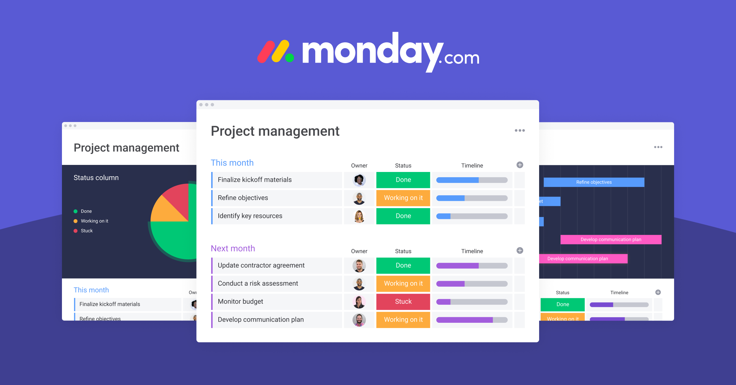 Monday Monday is a cloud-based project management tool that provides a different organization approach using colours and placement. This is crucial to view and manage a team's dashboards at a glance. It is easy to use and offers support with walkthrough tutorials and regular updates to improve features. Using it, you will be ahead of event scheduling, assigning tasks, calendar, discussion boards and time-tracking in your project management cycle. How It Works Monday Project management software simplifies task management and collaboration. It uses centralized management with colour-coded and visually organized boards to identify who's working on an aspect of a project. This teamwork software Gantt charts allow tracing tasks on projects spanning days and communication management in real-time. The dashboard's visual organization ensures all deadlines are met. With this, the client can be invited to view various steps of the projects. Is It Worth The Price? Monday teamwork software has some notable clients, including Uber, Fiverr, and Adidas. These companies have intensive scheduling and project management needs for their operations. That's why they go for Monday because it maximizes value for each business with tiered subscription plans starting from basic to enterprise subscription. Monday organization software features support every business level and the price is right once you are sure of what your business needs. Unique Selling Points Monday.com is a fully-fledged project management software equipped with the right features to ensure that your teams collaborate efficiently. Once you know what your business requires, leveraging this organization software needs no third-party tools or juggling between applications. It is a comprehensive system to have valuable insights on project status with one swipe of the eyes.